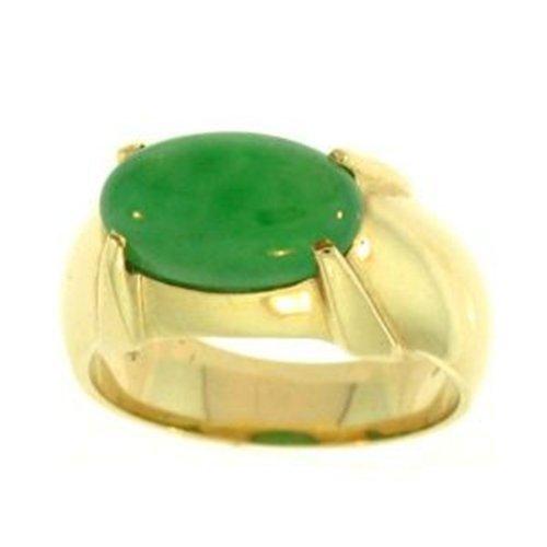 "NATURAL GREEN JADE RING - Grade ""A"" Jade"
