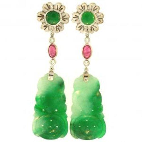 """NATURAL GREEN JADE EARRINGS - Grade """"A"""" Jade"""