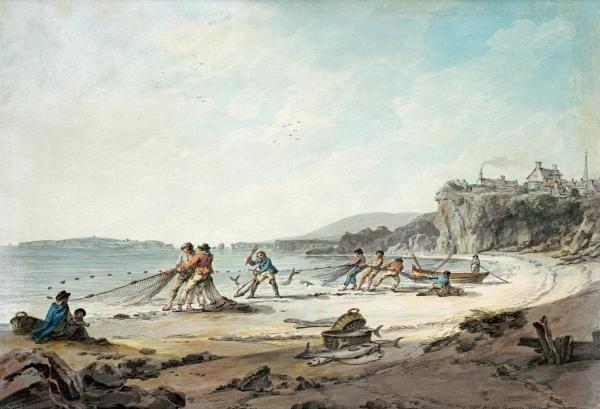 JULIUS CAESAR IBBETSON - A DRAWNET AT TENBY - Giclée on