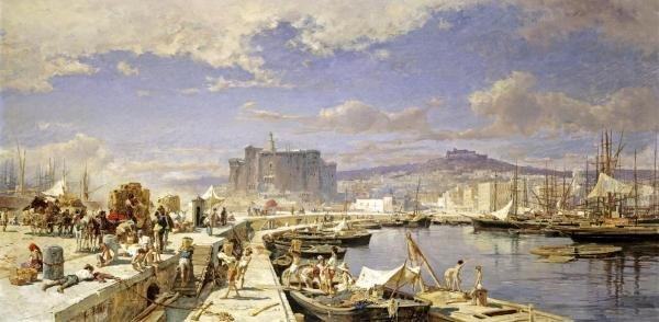 FRANZ THEODOR AERNI - THE HARBOUR OF NAPLES - Giclée on