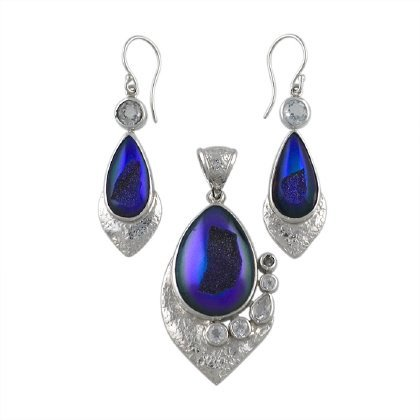 Quartz Drusy and Topaz Earrings and Pendant Set,