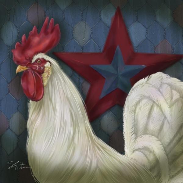 SHARI WARREN - RED STAR ROOSTER - Giclée on Canvas