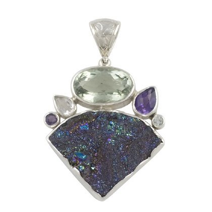 Chalcedony Drusy, Amethyst and Topaz Pendant, Sterling