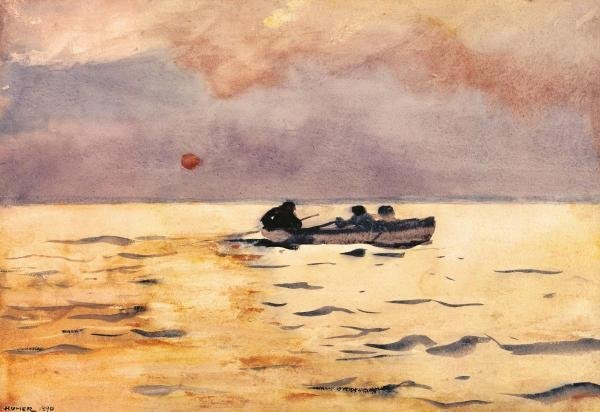 WINSLOW HOMER - ROWING HOME - Giclée on Canvas