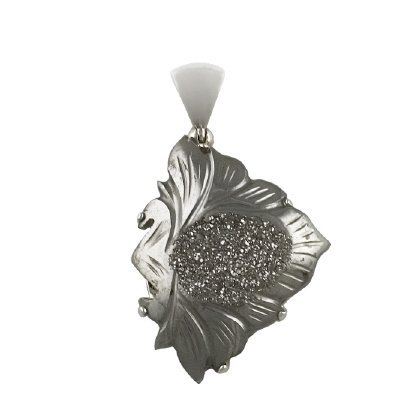 Carved Drusy Pendant, Sterling Silver