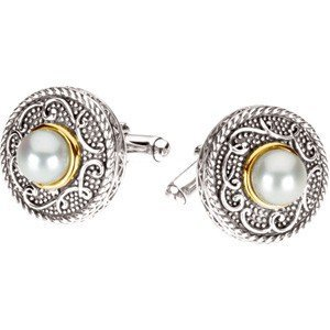 FRESHWATER PEARL CUFFLINKS IN 14KT GOLD AND STERLING