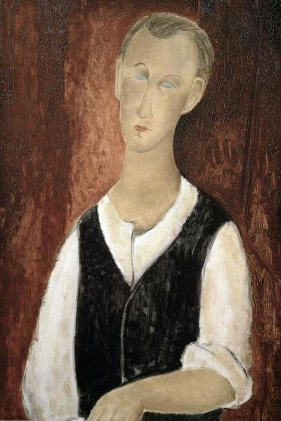 AMEDEO MODIGLIANI - YOUNG MAN WITH A BLACK VEST -