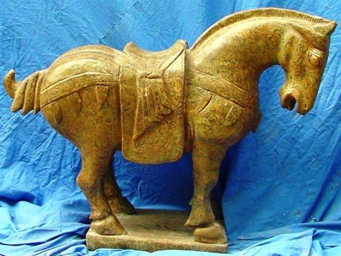 "30"" JADE SADDLED TANG HORSE"