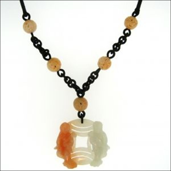 NATURAL RED WHITE JADE NECKLACE-GRADE A JADE