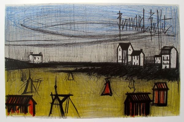 BERNARD BUFFET ON THE BEACH LIMITED ED. PLATE SIGNED