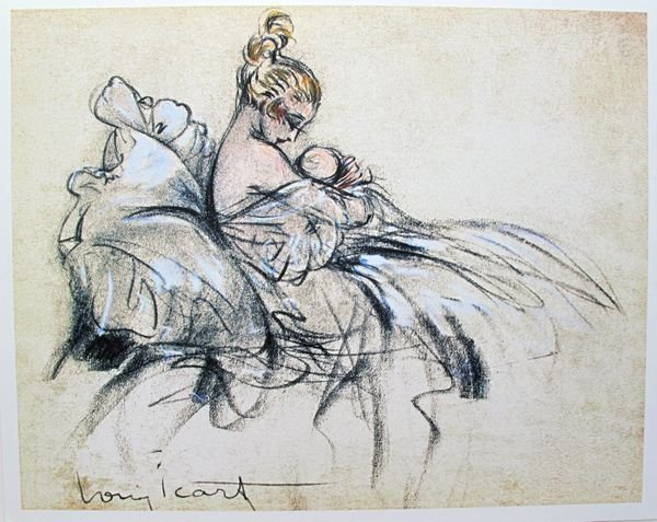 LOUIS ICART FIRST BORN LIMITED ED. GICLEE LARGE