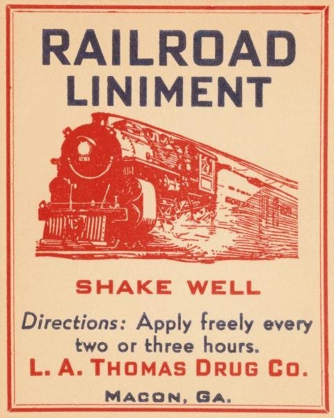 VINTAGE BOOZE LABELS  - RAILROAD LINIMENT  -  GICLÉE ON