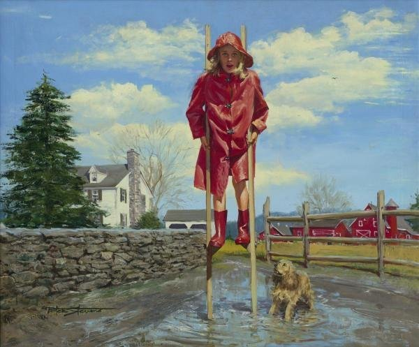 PETER STEVENS  - GIRL ON STILTS  -  GICLÉE ON CANVAS