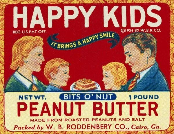 RETROLABEL -HAPPY KIDS BITS O' NUT PEANUT BUTTER -