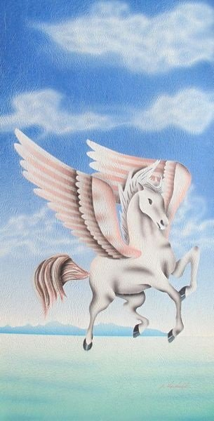 PEGASUS SIGNED ORIGINAL OIL PAINTING ON CANVAS
