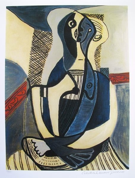 #46 SEATED WOMAN PICASSO ESTATE SIGNED GICLÉE