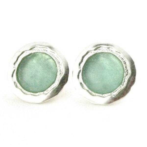 ROUND SEA GREEN ROMAN GLASS EARRINGS