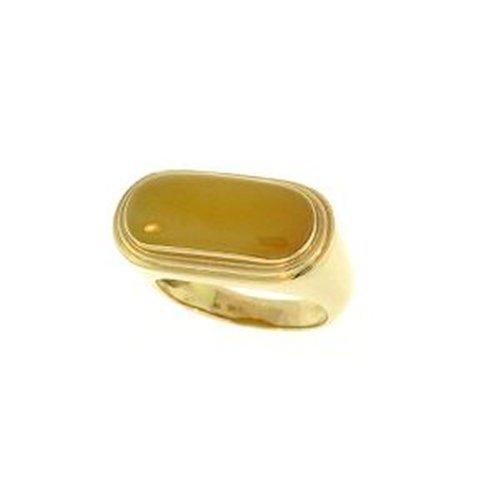 NATURAL YELLOW JADE RING-GRADE A JADE