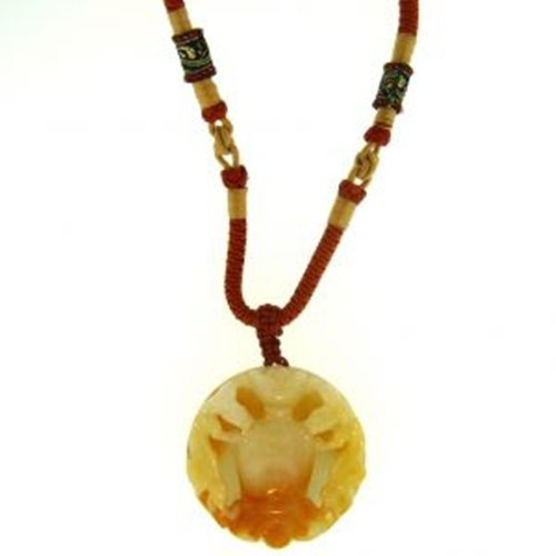 NATURAL RED YELLOW JADE NECKLACE-GRADE A JADE