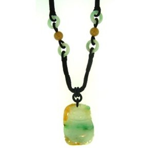 NATURAL GREEN YELLOW WATER MIX JADE NECKLACE-GRADE A