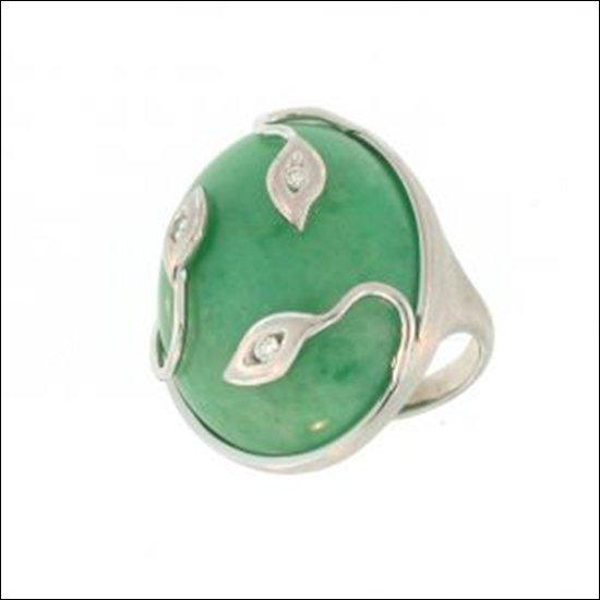 NATURAL GREEN JADE RING-GRADE A JADE