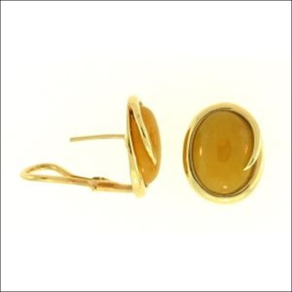 NATURAL YELLOW JADE EARRINGS-GRADE A JADE