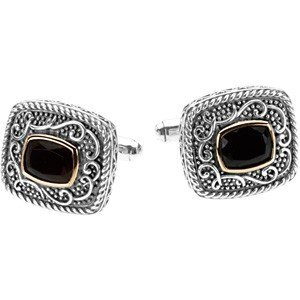 ANTIQUE CUSHION CUT ONYX CUFFLINKS