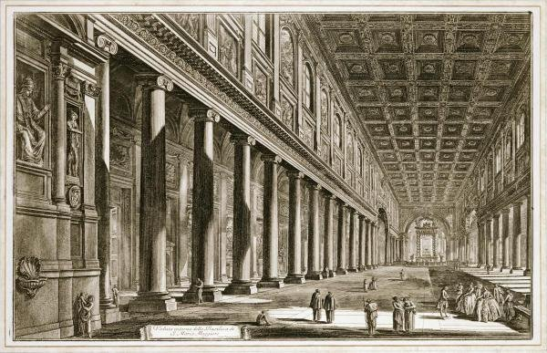 GIOVANNI BATTISTA PIRANESI  -  INTERIOR OF THE BASILICA