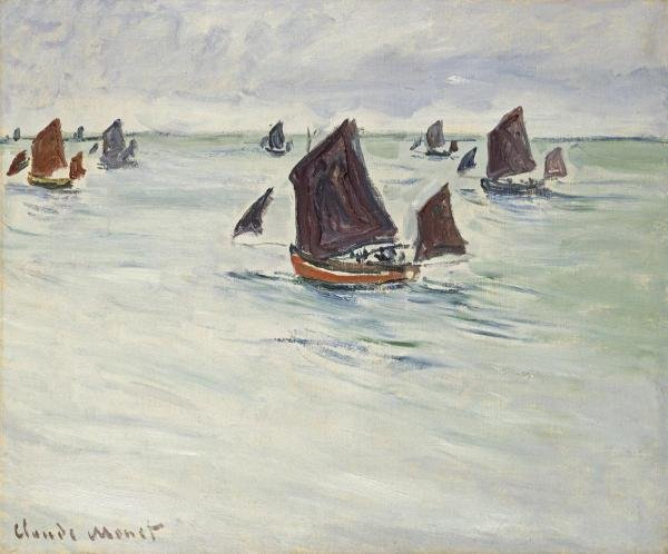 CLAUDE MONET  -  FISHING BOATS OFF POURVILLE, 1882  -