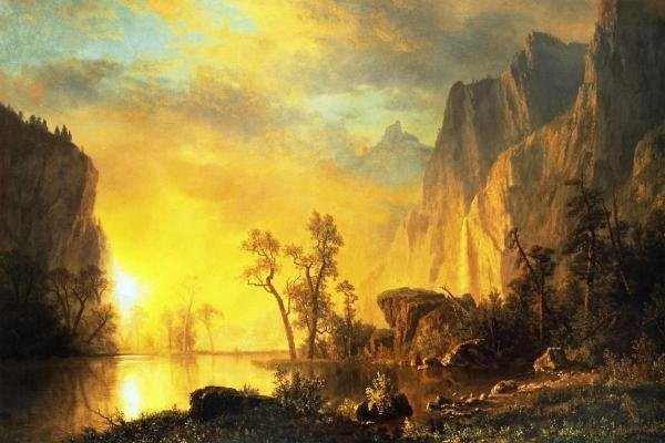 ALBERT BIERSTADT  -  SUNSET IN THE ROCKIES  -  GICLÉE