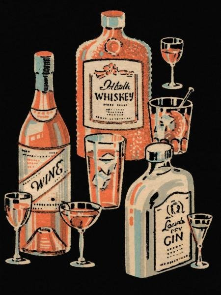 VINTAGE BOOZE LABELS  -  WHISKEY, WINE & GIN  -  GICLÉE