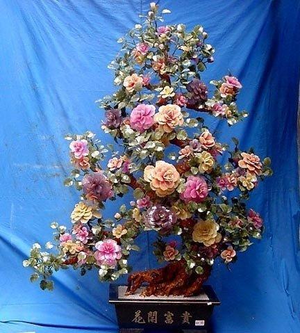 "HUGE 72"" JADE FLOWERS TREE"