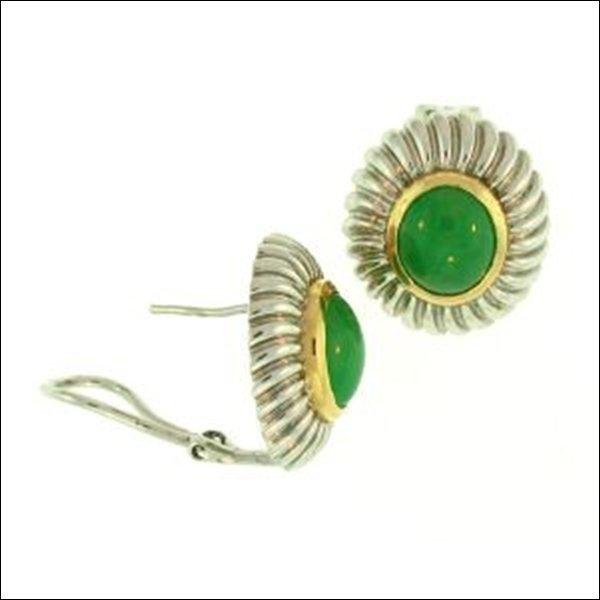 NATURAL GREEN JADE EARRINGS-GRADE A JADE
