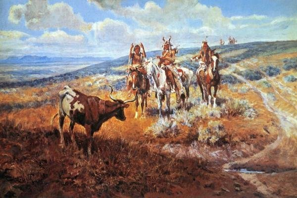 CHARLES M. RUSSELL  - WHITE MAN'S BUFFALO  -  GICLÉE ON
