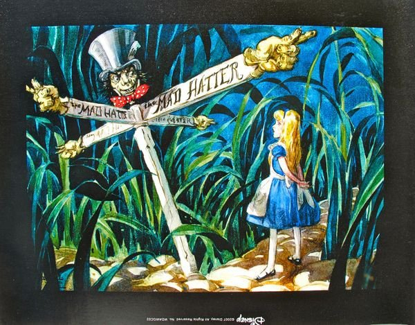 DISNEY ALICE IN WONDERLAND ALL ROADS LEAD TO THE MAD
