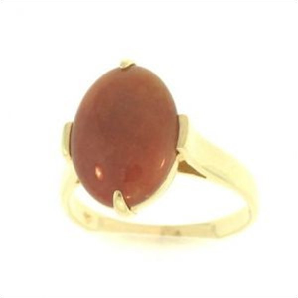 NATURAL RED JADE RING-GRADE A JADE