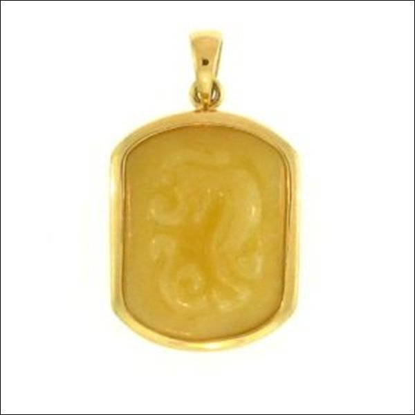 NATURAL YELLOW JADE PENDANT-GRADE A JADE