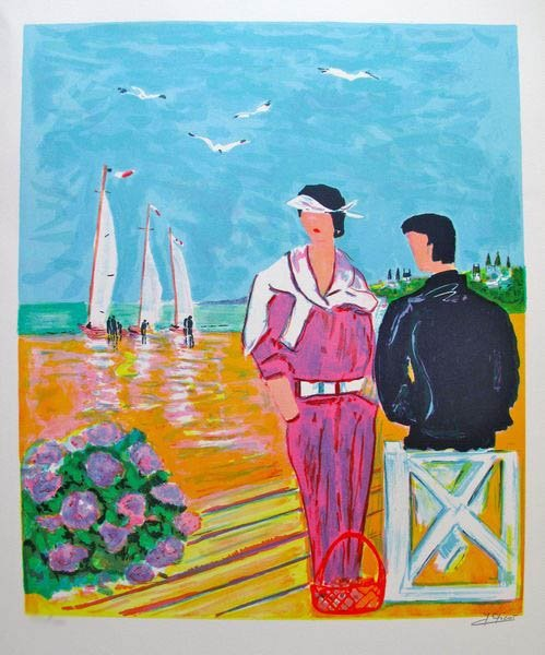 JEAN-CLAUDE PICOT COUPLE AT DEAUVILLE 1980 HAND SIGNED