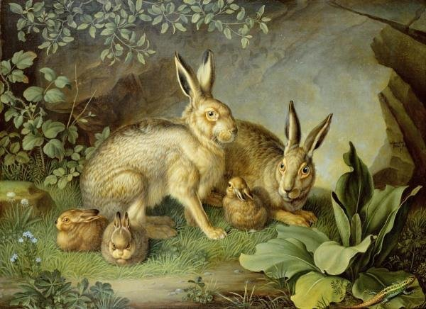 JOHANN WENZEL PETER  - HARES AND LEVERETS IN A ROCKY