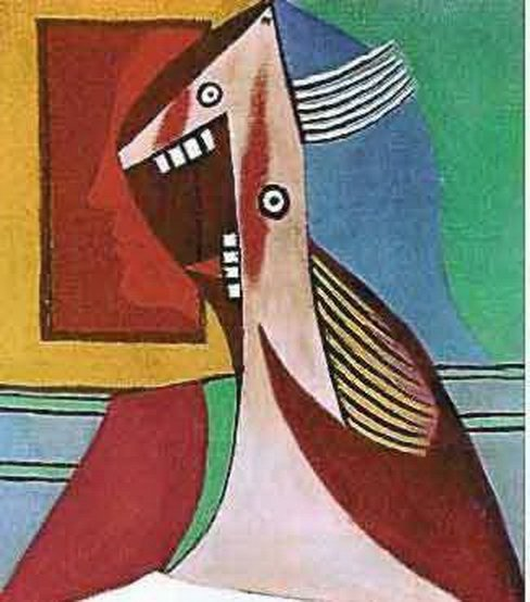 #121 LAUGHING LADY WITH TEETH PICASSO ESTATE SIGNED