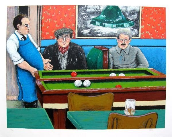 DAVID AZUZ POOL HALL HAND SIGNED LIMITED ED. LITHOGRAPH