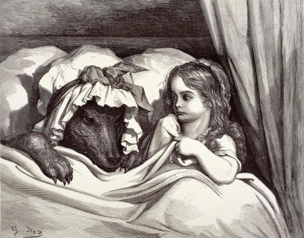 GUSTAVE DORE -LITTLE RED RIDING HOOD - GICLÉE ON CANVAS