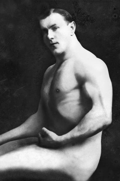 VINTAGE MUSCLE MEN -ARM CURL FROM SEATED POSE - GICLÉE