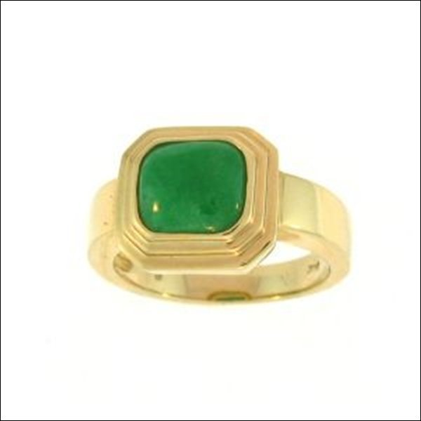 NATURAL GREEN JADE RING-GRADE A JADE