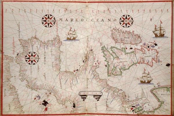 JOAN OLIVA -PORTOLAN MAP OF SPAIN, ENGLAND, IRELAND &