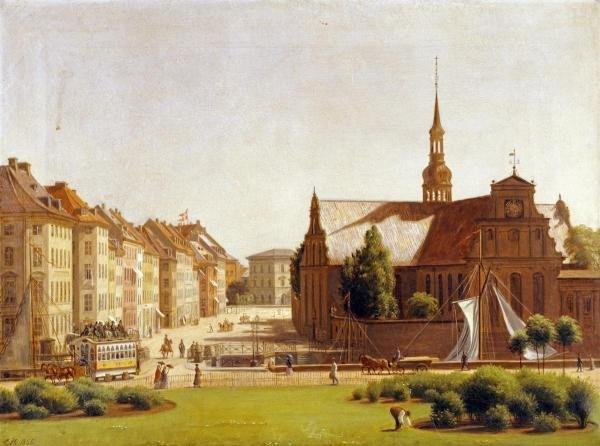 CONSTANTIN HANSEN  -  THE PALACE SQUARE, COPENHAGEN  -