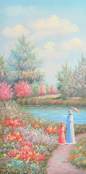 CHERRY PICKING BY THE LAKE SIGNED ORIGINAL OIL PAINTING