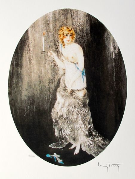 LOUIS ICART BEDTIME FACSIMILE SIGNED LIMITED ED. GICLEE