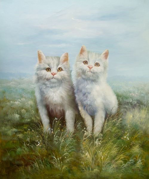 WHITE KITTENS SIGNED ORIGINAL OIL PAINTING ON CANVAS