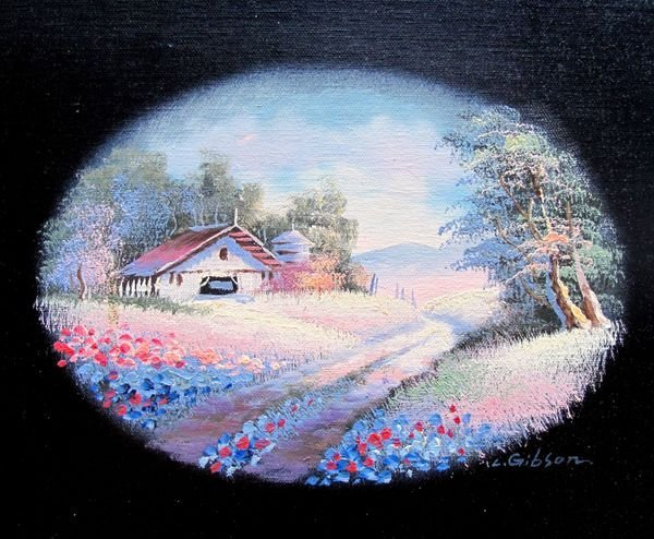 COUNTRY HOME SIGNED ORIGINAL OIL PAINTING ON CANVAS